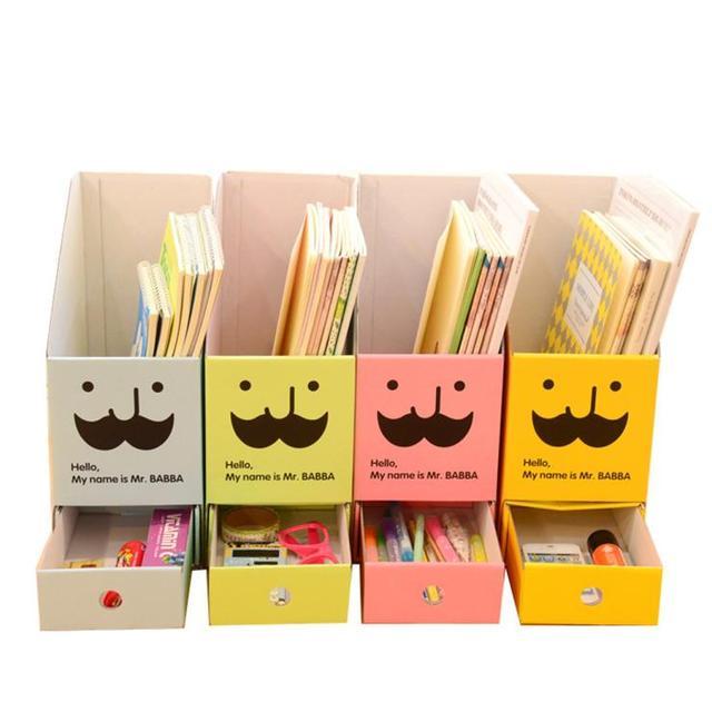 cute diy paper board storage box with drawer organizer desk Cute Organizer Box