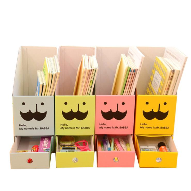 Cute DIY Paper Board Storage Box with Drawer Organizer Desk Stationery Documents Book Organizer Box for Home Decoartion