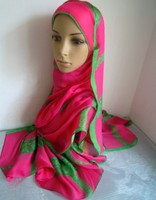 Mu1019 Last Two Pcs Discount Sale High Quality Silk With Lace Price Noble Muslim Long Scarf