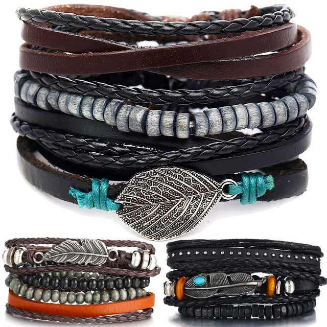 IF ME Vintage Multiple Layers Leather Bracelet Set for Men Women Charm Leaf Feather Stone Wood Beads Wrap Bracelets Pulseras NEW