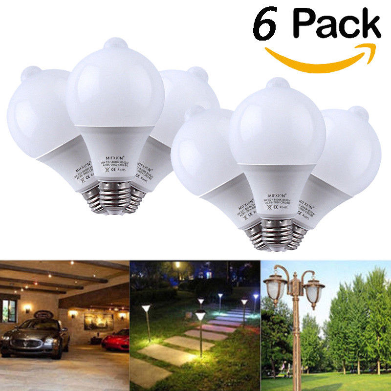 6PCS 9W PIR Motion Sensor LED Bulb+Light Control Motion Sensor Light E27 Led Bulb Auto Smart Led PIR Infrared Body Sound litake led bulb lamp energy saving motion activated light bulb e27 9w pir infrared motion sensor light pir stairs night light