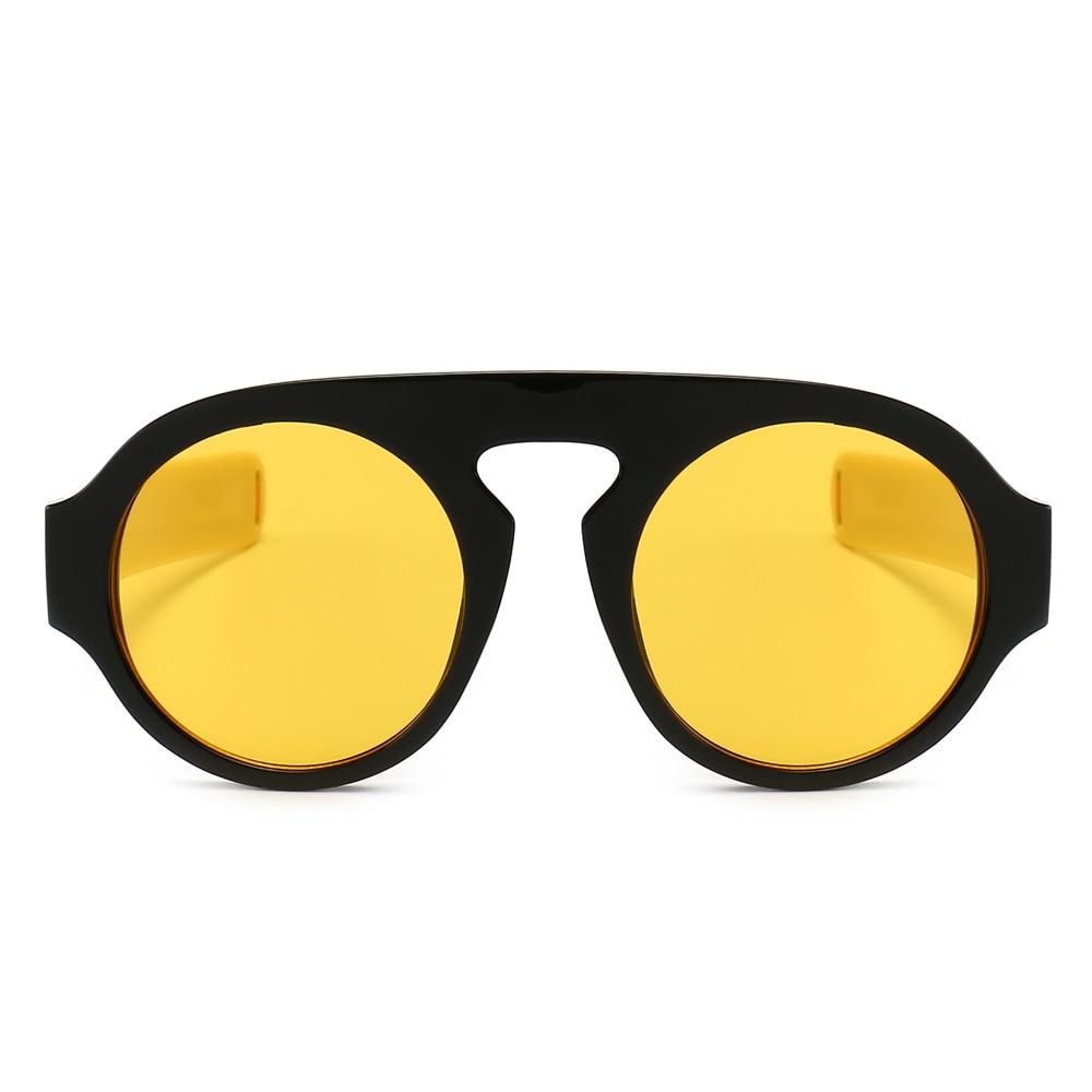 ba8abc15bd Kachawoo Round Sunglasses Men Modern Accessories Thick Frame Yellow Black Retro  Sun Glasses Women Fashion 2019