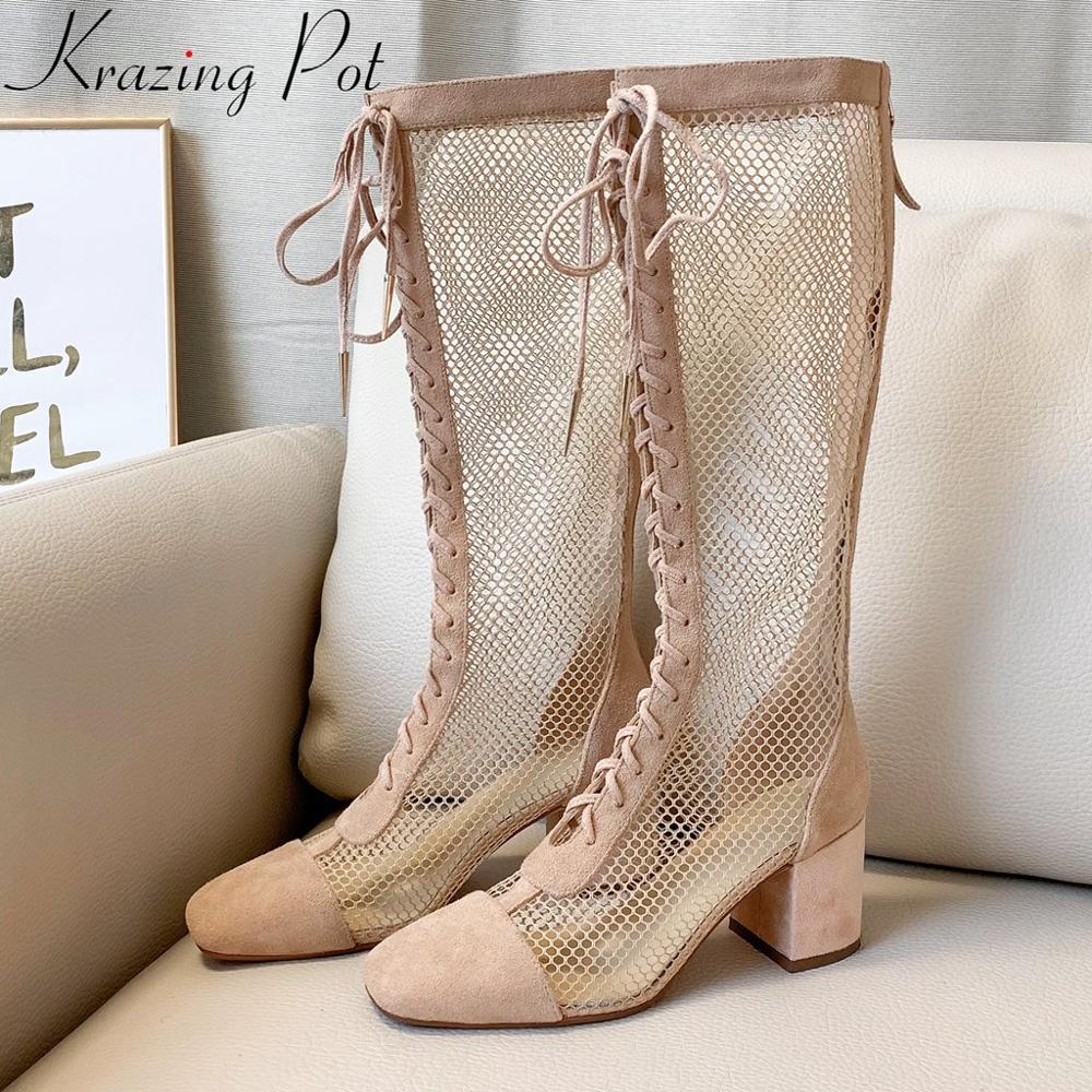 Krazing Pot natural leather European design air mesh breathable high heels square toe zipper summer boots