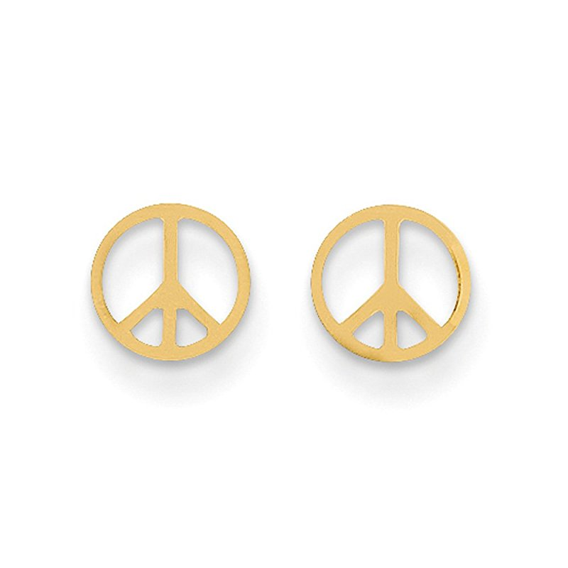 Fashion Retro Gold-Color Round Peace Stud Earrings Stainless Steel Peace Symbol Sign Studs Jewelry For Men Women Brincos Bijoux