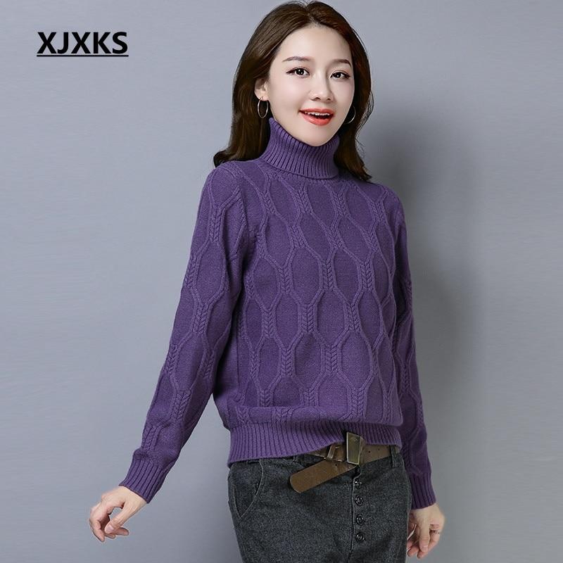 Suéter 2018 rojo púrpura Colores Xjxks Caliente Tejido Mujer Otoño Elasticidad  Alta 4 Beige Jersey Pulóver azul Suave Invierno De RwqrXUcR cc5e46efb802