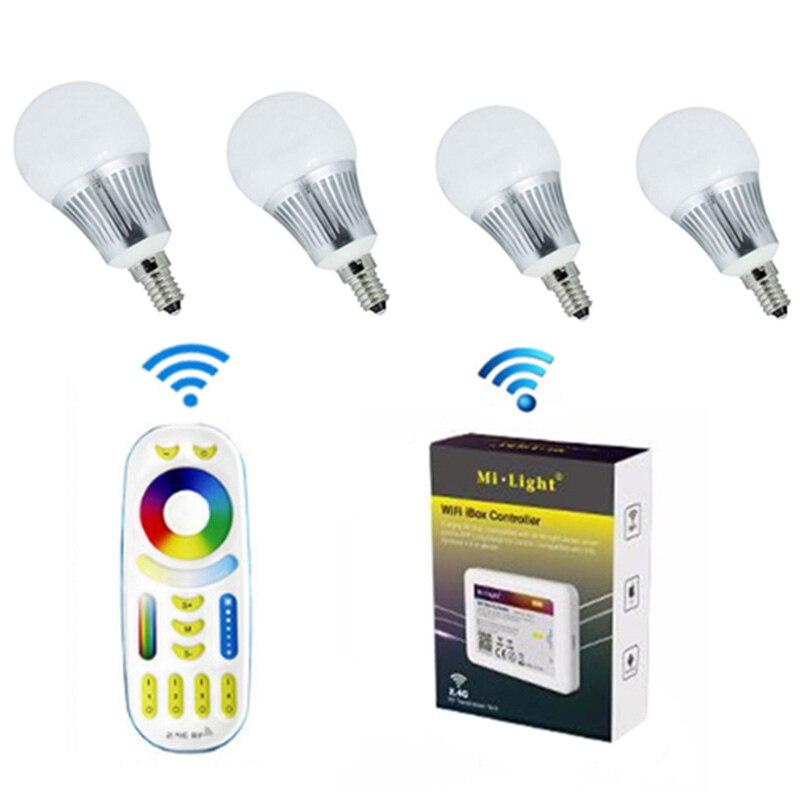 Mi. Light E14 5 W RGBCCT ampoule LED connectée 4 pièces + 1 pc WIFI + 1 pc 4 Zone RF télécommande sans fil pour ampoule LED intelligente Milight