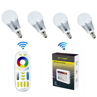Mi.Light E14 5W RGBCCT Smart LED Light Bulb 4pcs + 1pc WIFI +1pc 4 Zone RF Wireless Remote Controller for Milight Smart Led Bulb