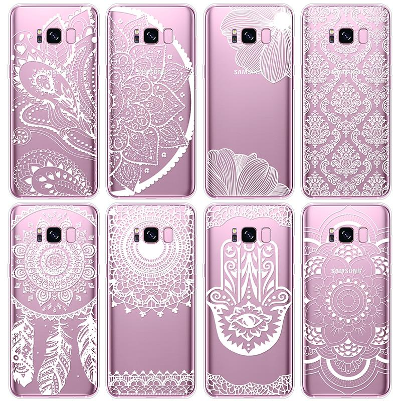 Clear TPU Coque For Samsung Galaxy S6 S7 Edge S9 Plus A3 A5 Note 9 J3 J5 J7 2016 2017 A6 A8 2018 Lace Floral For Samsung S8 Case