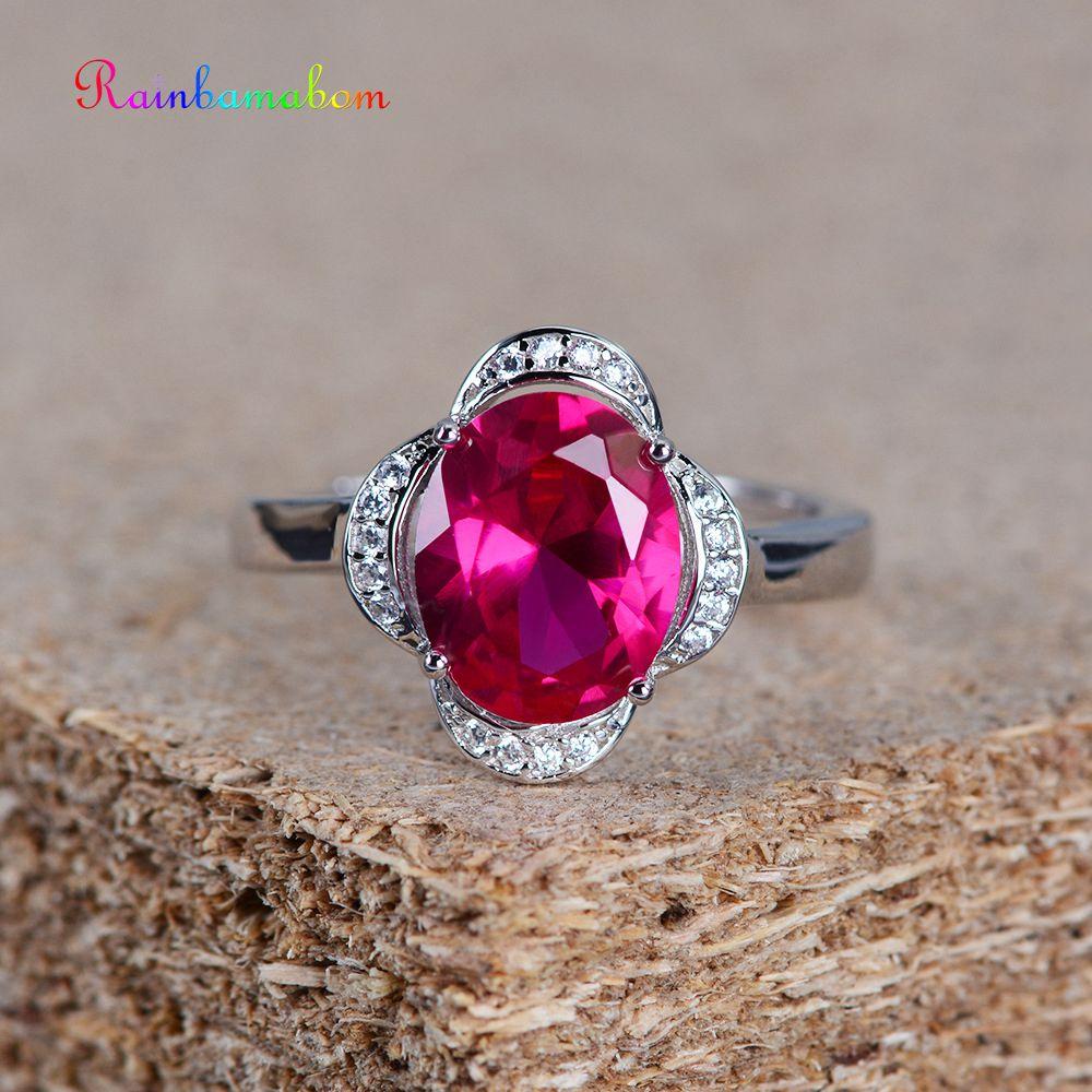 Rainbamabom 925 Sterling Silver Oval Ruby Gemstone Engagement Opening Adjustable Ring Wedding Band Women Jewelry Wholesale
