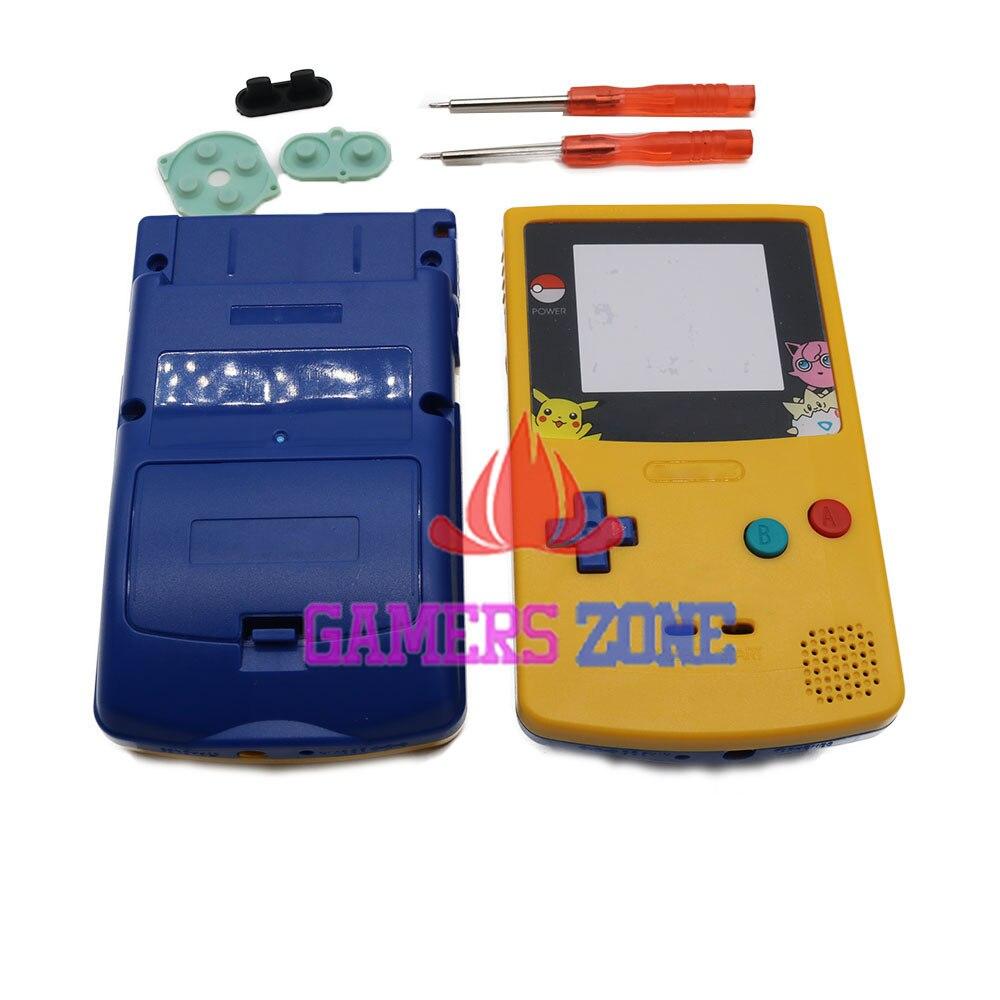 Game boy color kabel - Voor Pikachu Limited Editiin Bovenste Geel Hieronder Blauw Behuizing Shell Voor Nintendo Gameboy Color Gbc Pokemon