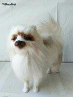 About 24x8x20cm Lovely Pomeranian Model Prop Polyethylene Furry Furs Dog Handicraft Miniatures Decoration Toy Gift A1621