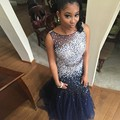 2017 Luxury Crystal Mermaid Prom Dresses Sexy Backless Women Navy Blue Prom Gowns Floor Length Vestidos De Festa