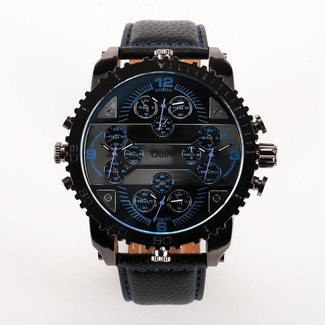 4 Time Zone Leather Band Casual Japan Quartz Movement Wrist Watch Luxury Timepiece 2