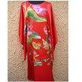 Vermelho Estilo das Mulheres Chinesas Seda Rayon Robe Vestido Casuais Casa de Banho Vestido de Yukata Camisola Floral Frete Grátis Um Tamanho NS0043