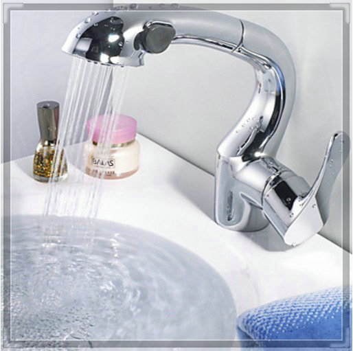 Chrome Finish Pull Out Sprayer Bathroom Sink Faucet One Hole Basin Mixer Tap Led