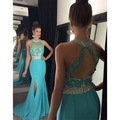 New Green Mermaid Gowns Party Dress 2017 V Neck Beaded Lace Appliques Luxury Crystal Prom Dresses Rhinestone Robe De Soiree EP82