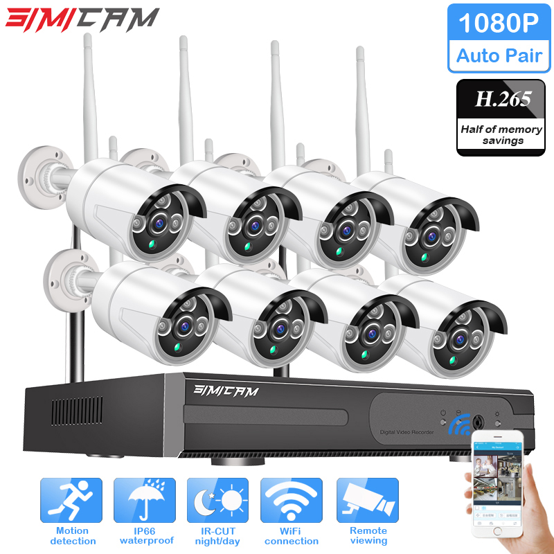 Security system kit CCTV 1080P 8ch 2MP HD Wireless NVR kit 3TB HDD Outdoor waterproof IR Night IP Wifi Camera Surveillance set image