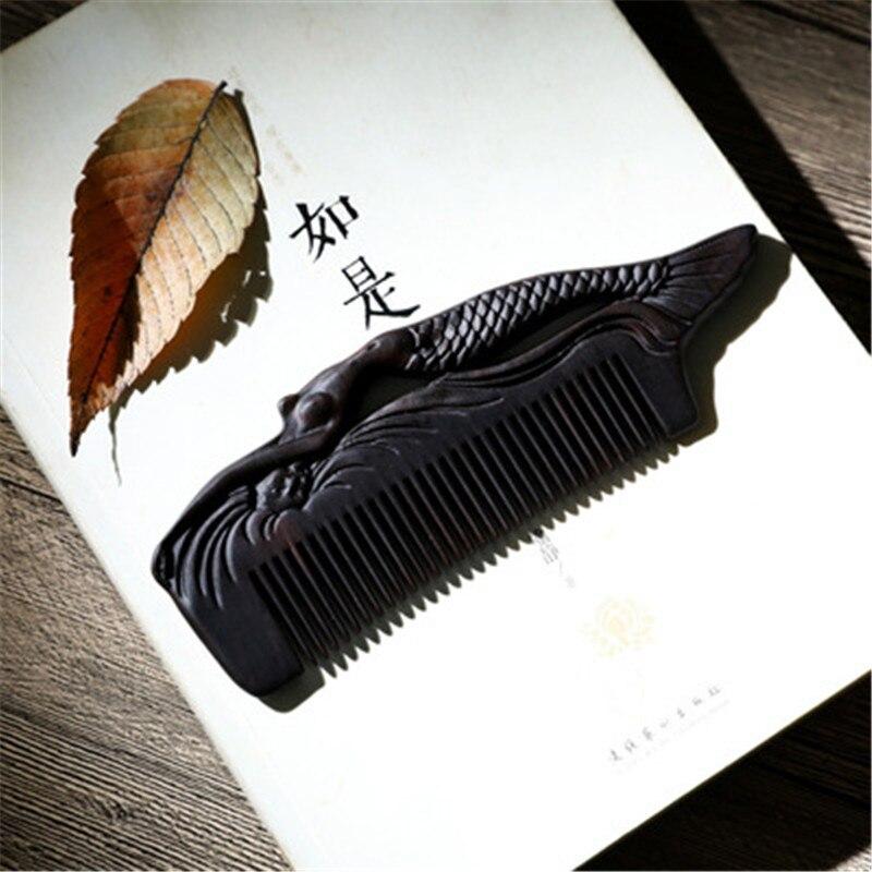 все цены на Professional Health Care Comb Anti-static Massage Sandalwood Comb Handmade Fish Hair Brush Wedding/ Birthday Gift Freeshipping