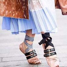 brand same design women soft buckle belt butterfly bow flat shoes female lacing up bandage ballet shoes 3 color