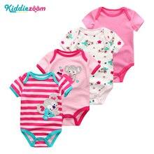 Baby Bodysuits Qızlar Yay geyimləri Qısa Qollu Sevimli Körpələr Oğlanları Roupas de boby bebe 4Pcs / lot