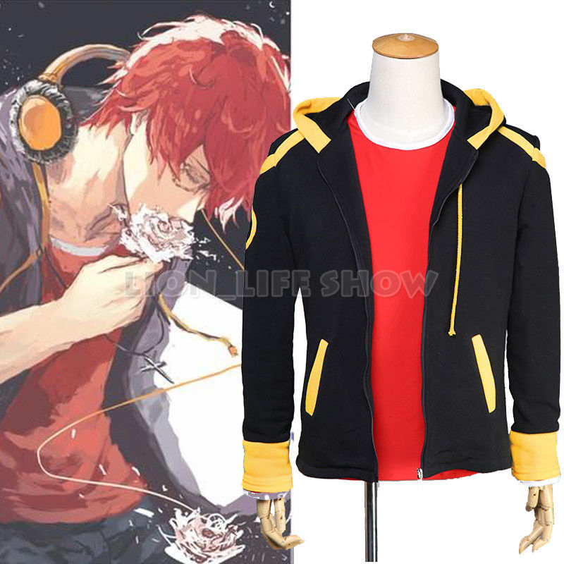 Mystic Messenger 707 Cosplay Costume Coat Hoodie Hooded Outerwear Mens Outfit