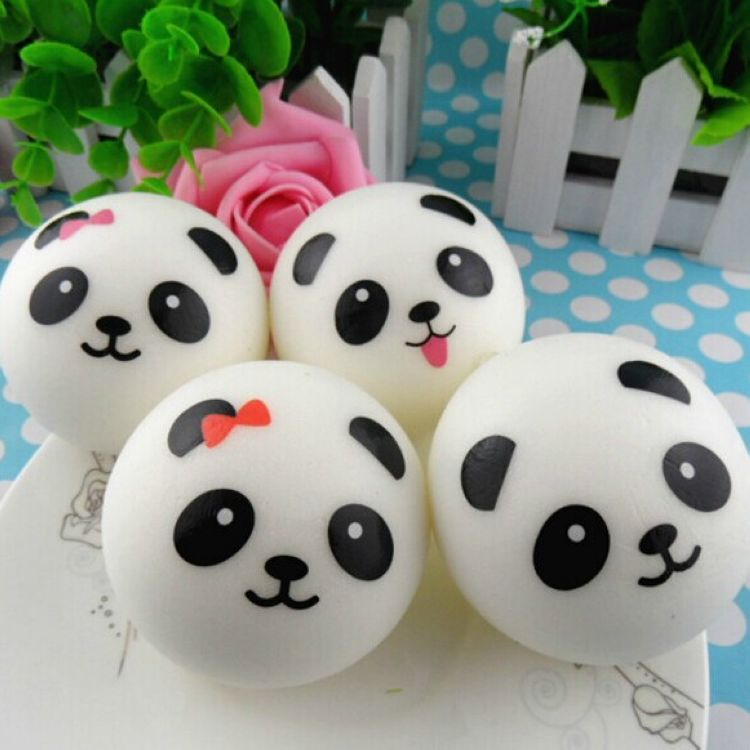 1pcs 10/7/4cm Kid Squishy Toy Funny Soft Slow Rising Panda Face Toy Bread Squeeze Fun Hobby Stress Reliever Decor Strap Gift