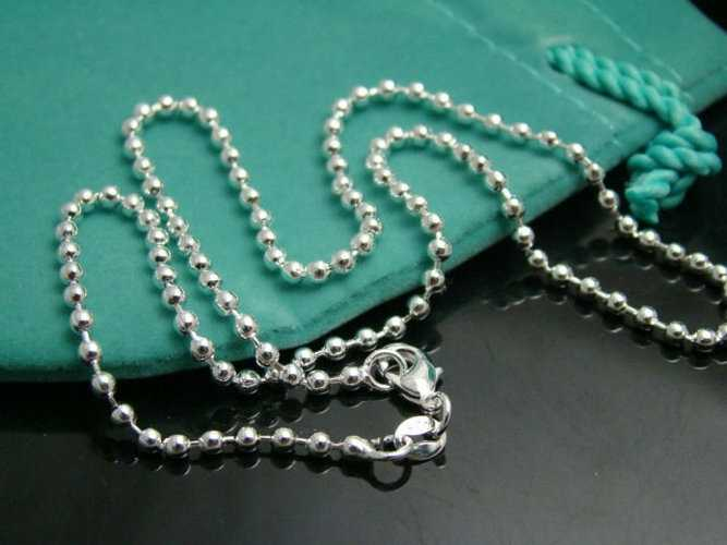 CN3 2mm Beads chain necklace,Wholesale lots Fashion jewelry 925 stamped silver plated jewelry necklaces & pendants