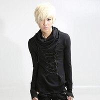 2016 Autumn Spring Metal Rock Gothic T Shirt Men Black Slim Long Sleeve Stylish Tee