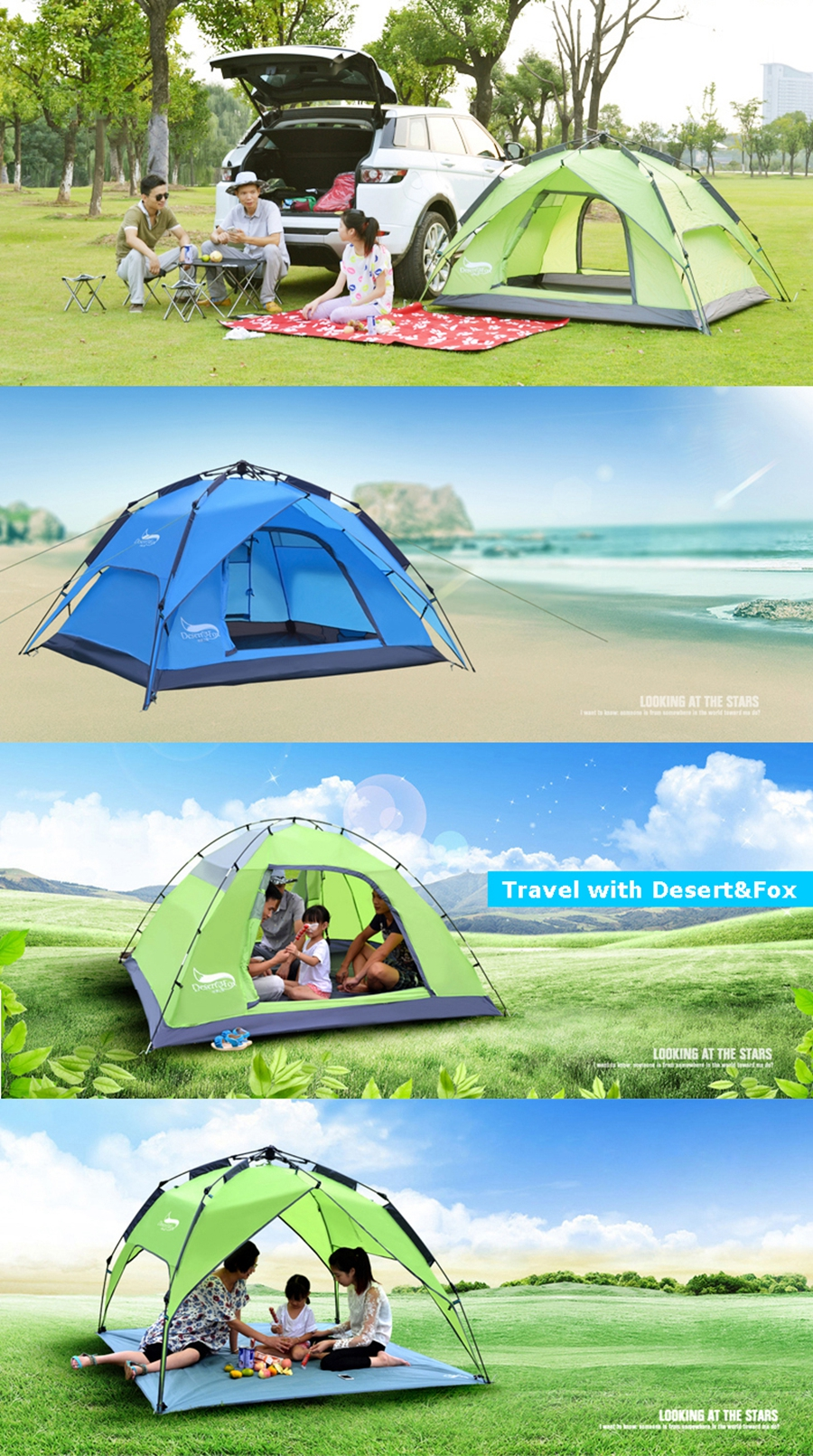 Desert&Fox Automatic Camping Tent, 3-4 Person Family Tent Double Layer Instant Setup Protable Backpacking Tent for Hiking Travel 3