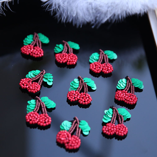 Bead Hand Embroidery Sequins Patch Cute Little Cherry Patch Applique