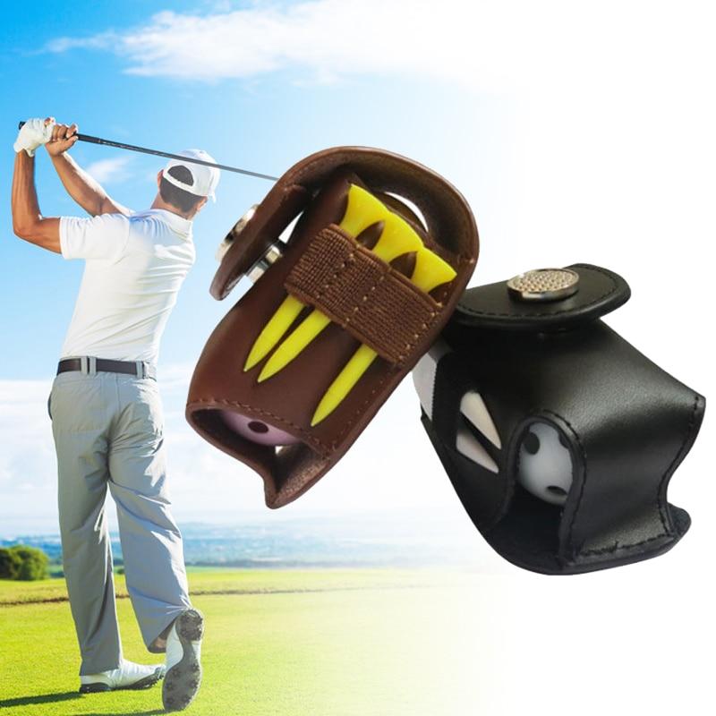 Leather Small Golf Ball Bag Golf Ball Pouch Golf Small Tools Packet Golf Ball Waist 2 Hollow Spheres, 3 Tee, One Divot Fork