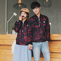 Spring 2017 New Fashion Trends Couple Matching Camo Bomber Jacket Lovers Red Camouflage Coats