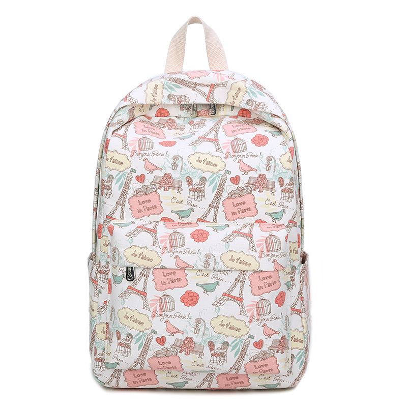 Eiffel Tower Backpacks Cartoon Flower Printing School
