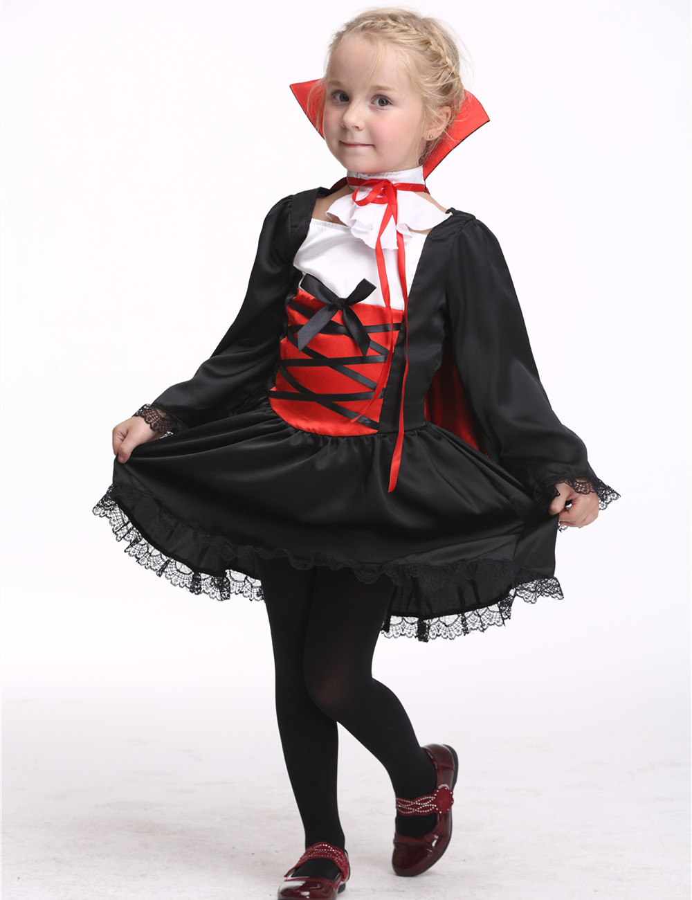 3-11Years Girls Vampire Costume Party Cosplay Dress With Cape Kids Perform Stage & Dance Wear Toddler Halloween Costume Dress