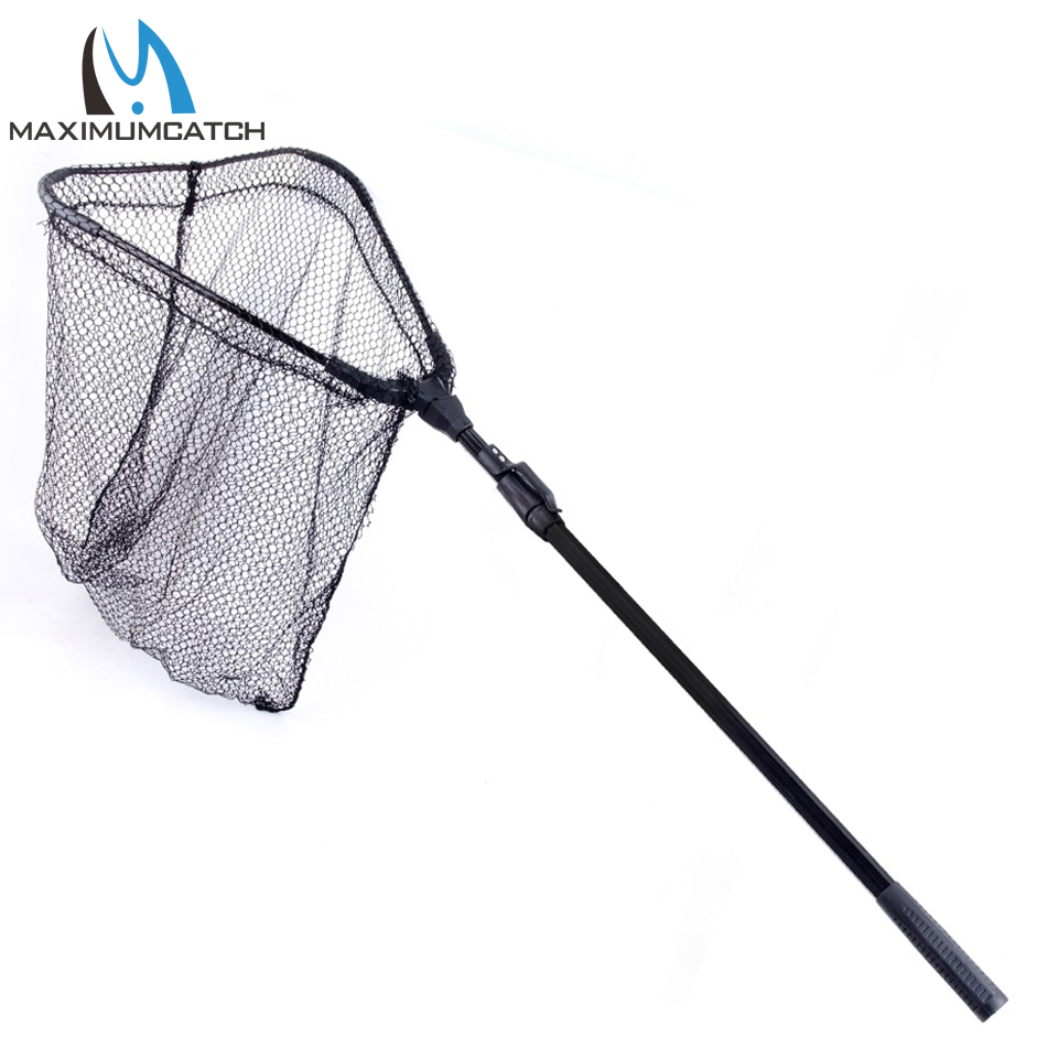 Top aluminum alloy folding carp fishing net with two for Telescoping fishing net