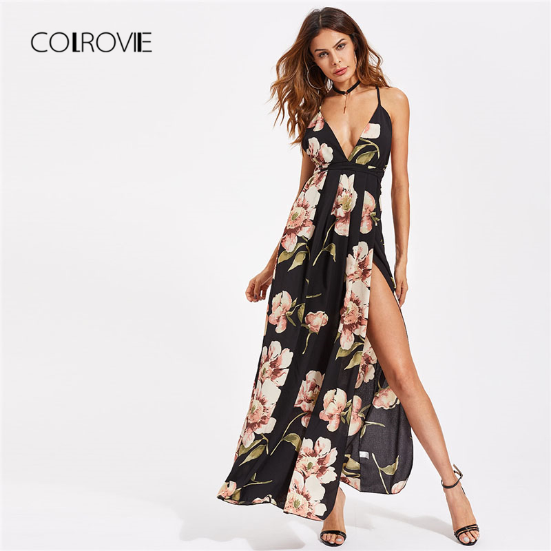 COLROVIE Plunging Strappy Back High Slit Florals Dress 2018 Women Sleeveless Vacation Dress V Neck Spaghetti Strap Dress
