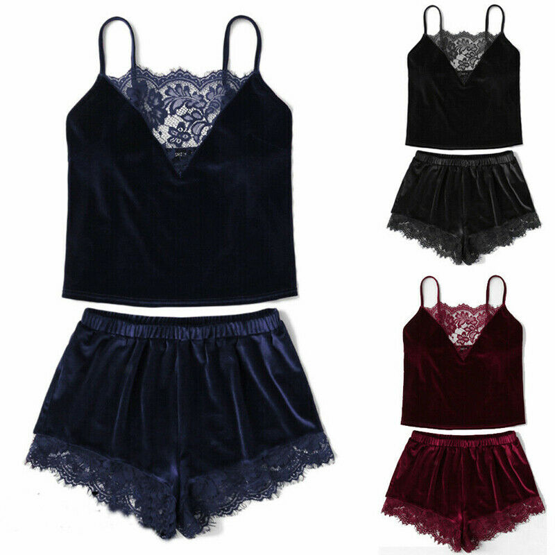 Hirigin New Women 2PCS   Set   Sexy Lingerie   Pajamas     Sets   Velvet Lace Print V Neck Crop Tops Shorts