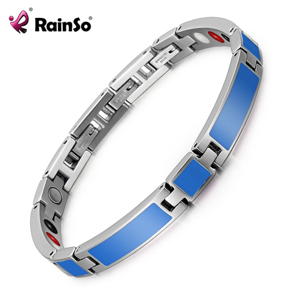 RainSo 2018 nueva moda epoxi joyería femenina terapia magnética pulsera y brazalete germanio Bio energía pulsera para la artritis