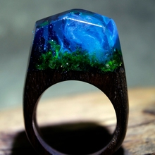 Resin and Wood Rings Misty Forest Ring Handmade Vintage Unique Ring for Women Mens Rings Jewelry