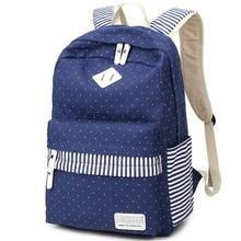 Холст горошек печати рюкзак женщины школьные сумки для подростков рюкзак женщины рюкзаки мужчины bolsas mochila APB28