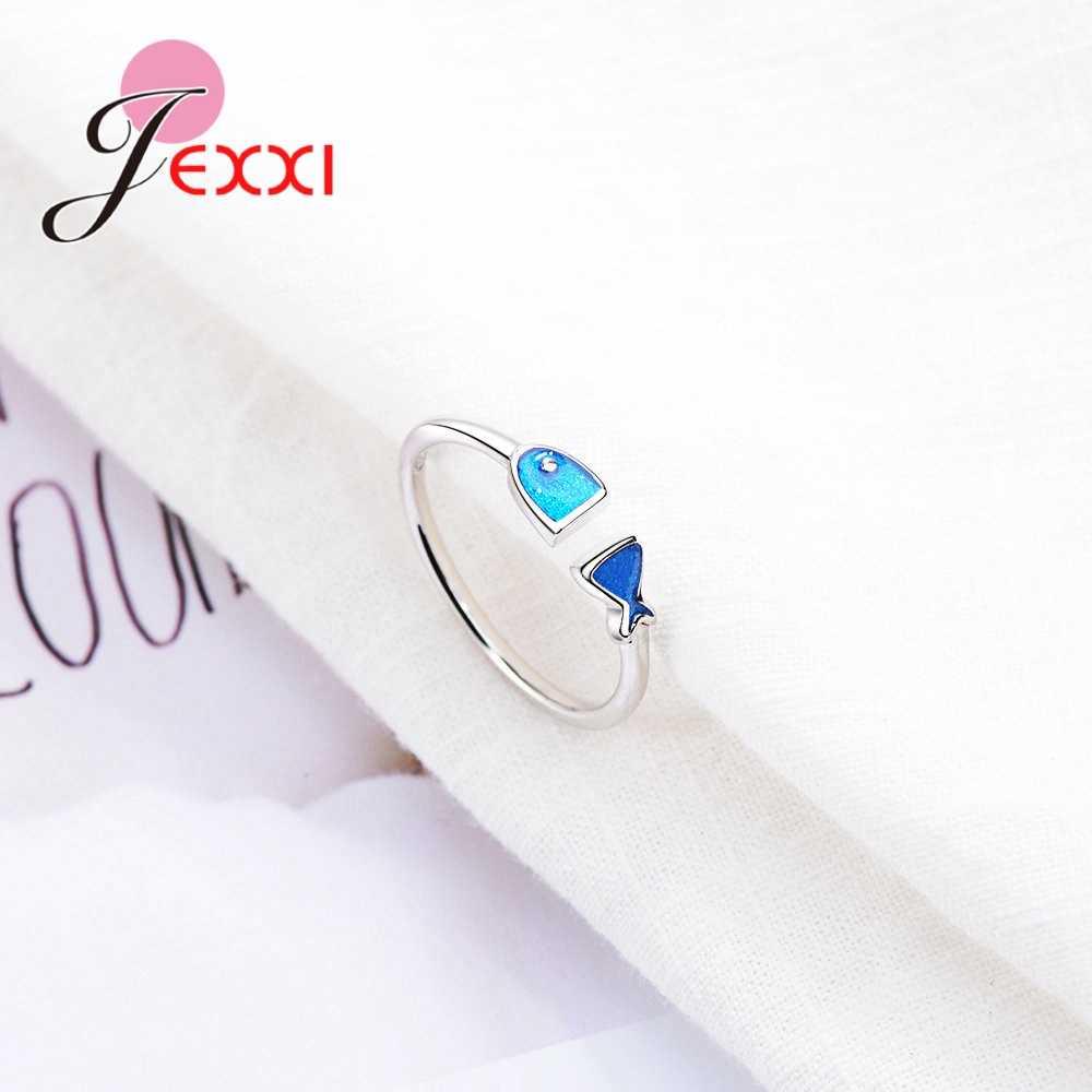 Привлекательное регулируемое кольцо в форме голубой рыбы, 925 пробы, серебряное, для женщин, для помолвки, вечерние, модные, свадебные ювелирные изделия, подарок