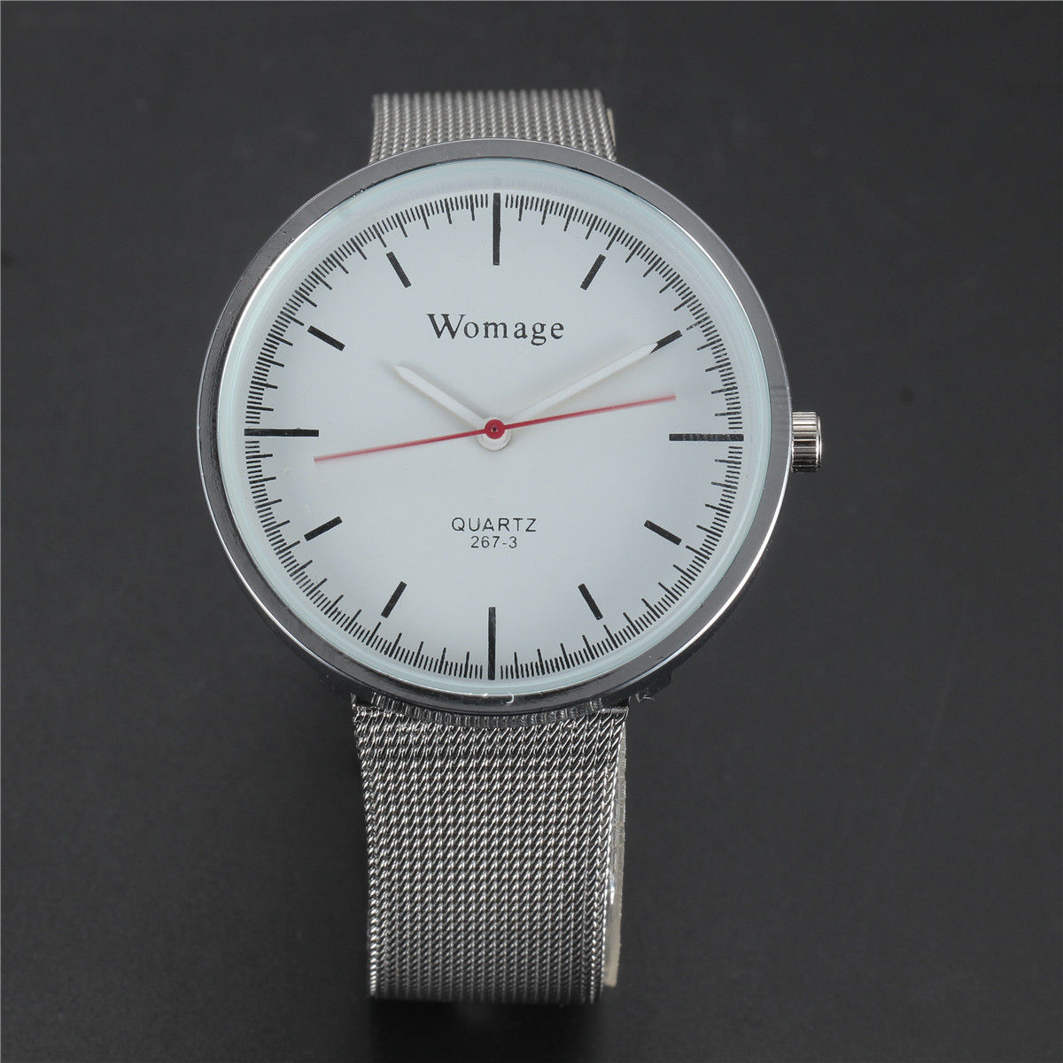 TOP Luxury Brand WOMAGE Dress Mens Quartz Watch Mesh Strap Clock Reloj Mujer Famous Simple Black