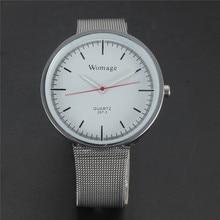 HAUT De Luxe Marque WOMAGE Robe Mens Quartz Montre Bracelet En Maille horloge Reloj Mujer Célèbre Simple Noir Blanc Poignet Montres Pour hommes