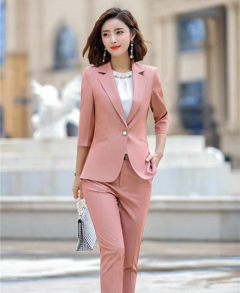 Formal Women Business Suit With Jackets And Pants Spring Summer Half Sleeve Uniform Styles Blazers Pantsuits Female Pants Suits