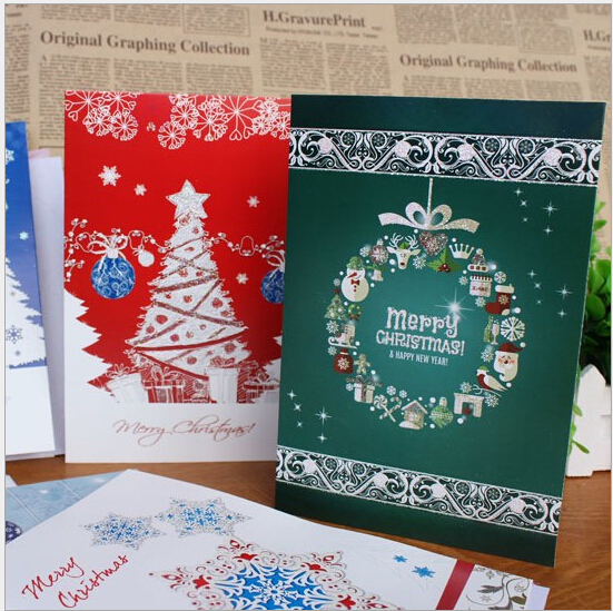 8pcs Merry Christmas Card Christmas Tree Bell Paper Handmade