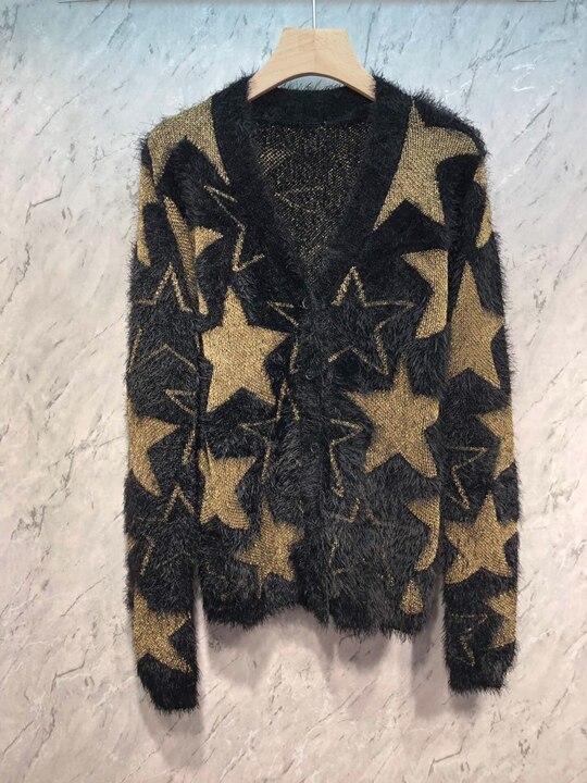 2019 Inizio Autunno Nuovo Donna V collare Pentagonale Star modello button maglia a manica lunga cardigan 713-in Cardigan da Abbigliamento da donna su  Gruppo 1