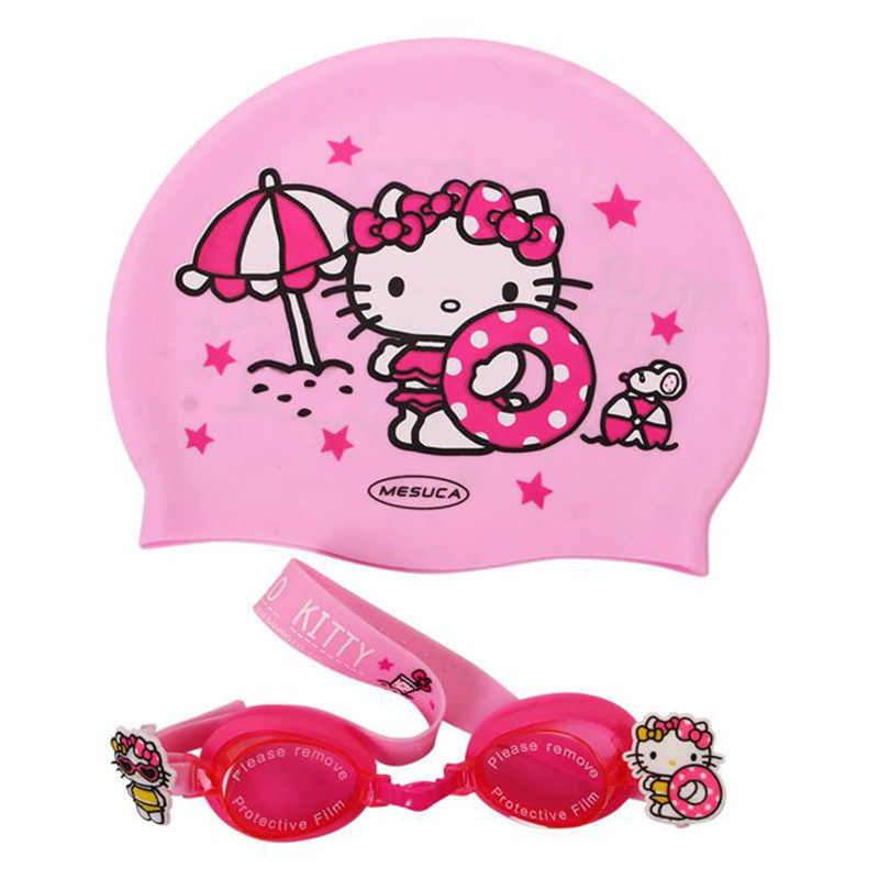 21c50e6a8 Hello kitty Cute Girls Waterproof Protect Ear Pool Hat Children Caps  Children's Cartoon Swimming Cap Silicone