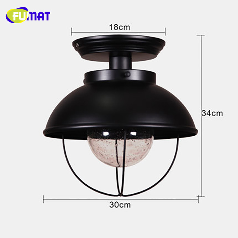 FUMAT Snow Glass Ceiling Light Nordic Balcony Ceiling Lamp Porch Aisle Cloakroom Lighting Black Bathroom Kitchen Ceiling Lights - 3