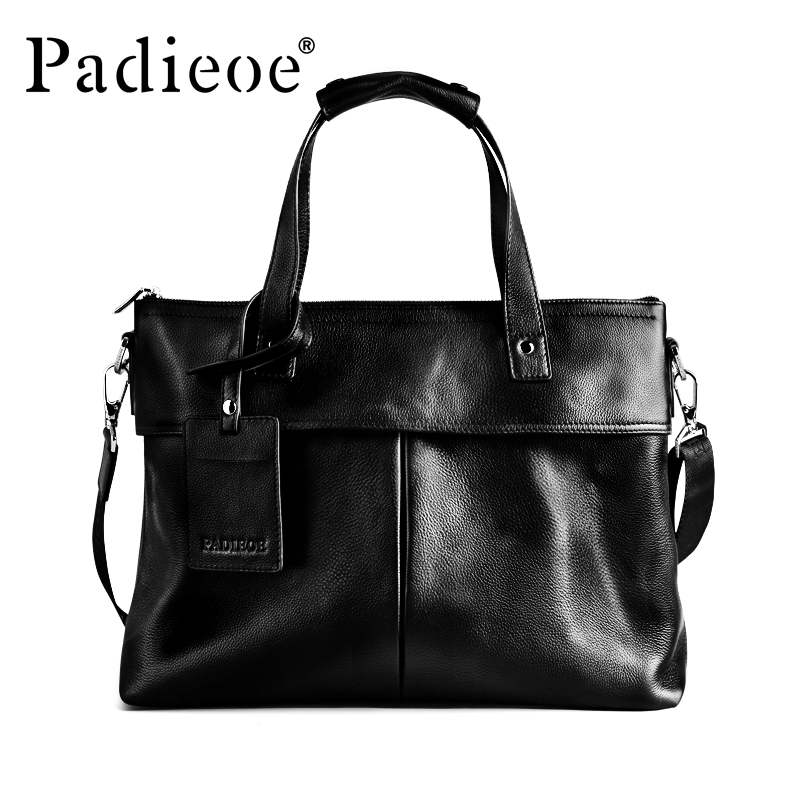 Padieoe New Design Business Bag for Male Famous Brand Genuine Leather Mens Briefcase Fashion Men handbag Laptop Bags Portfolio new casual business leather mens messenger bag hot sell famous brand design leather men bag vintage fashion mens cross body bag