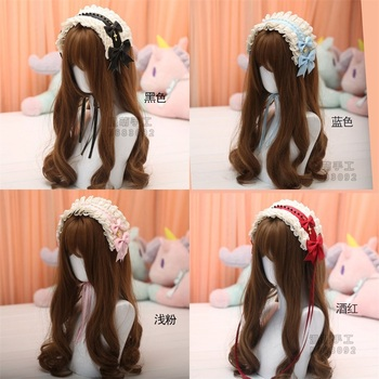 Japanese Gothic Style Lolita Girl Retro Cross KC Headband Female Lace Bow Headwear Cosplay Hair band Hairpin Accessories 9Colors